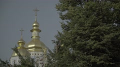 Dome of St. Michael's Cathedral in Kiev.(Kyiv).  The architecture of the city. Stock Footage