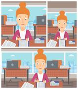 Real estate agent signing contract - stock illustration