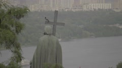 Kiev (Kyiv) in the summer. The city's skyline. Monument to Volodymyr the Great Stock Footage
