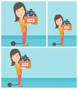 Chained business woman with bags full of taxes Stock Illustration