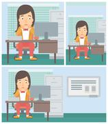 Tired woman sitting in office vector illustration Stock Illustration