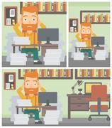 Business man in despair sitting in office Stock Illustration