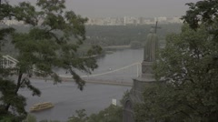 Kiev (Kyiv). Ukraine. The Dnipro River. The symbol of the city Stock Footage