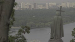 Kiev (Kyiv) . Ukraine. Monument to Volodymyr the Great Stock Footage