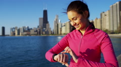 Portrait of Hispanic Caucasian female in Chicago city doing cardio warm up Stock Footage