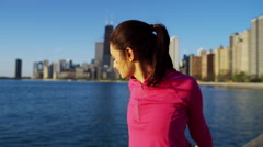 Portrait of Hispanic Caucasian female in the city with smart watch for leisure Stock Footage