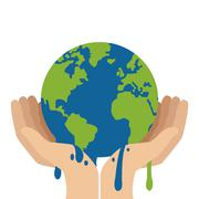 Hands holding planet earth melting icon Stock Illustration