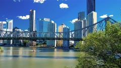 Panning view of Brisbane Skyline with Story Bridge and the river Stock Footage