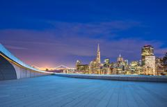 Empty floor with cityscape and skyline of san francisco at night Kuvituskuvat