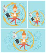 Business woman coping with multitasking - stock illustration