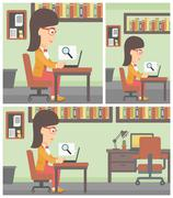 Business woman working on her laptop Stock Illustration