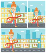 Business woman crossing finish line - stock illustration