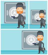 Burglar with gun near safe vector illustration - stock illustration