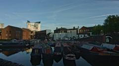 Birmingham, England. Birmingham Gas Street canal basin right pan with flare. UHD - stock footage