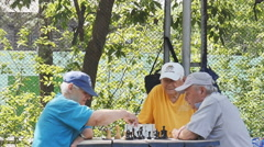 Pensioners playing chess with a clock in the Park Stock Footage