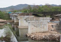 Destroyed Old Bridge - stock photo