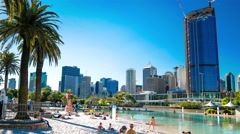 Streets Beach in South Bank Parkland, inner-city beach Brisbane Stock Footage