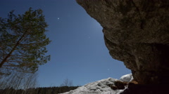 Moonlit night in a forest cave Stock Footage