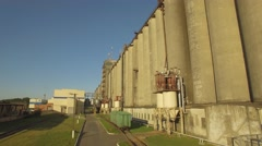 Aerial. Malting factory. Huge silos for barley grains Stock Footage