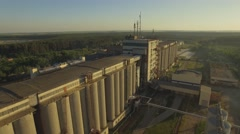 Aerial. Malting factory. Huge silos for barley grains - stock footage