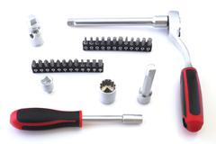 Mechanical bit tool set isolated on white background Stock Photos