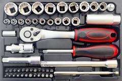 Mechanical bit tool set - stock photo