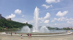 Point State Park Fountain in the summer Stock Footage