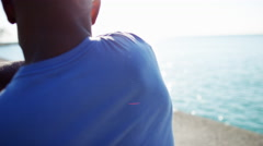 Close up of Ethnic African American male wrist in sun flare for cardio exercise Stock Footage