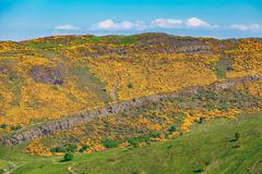 Edinburgh mountains -  Arthur Seat, Salisbury Crags, Holyrood Park - stock photo