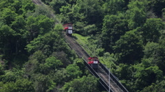 Duquesne Incline funicular train cars passing each other  Stock Footage