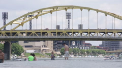 People taking pictures in front of a fountain in Pittsburgh Stock Footage