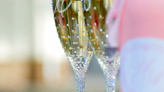 wedding glasses and a bottle - stock footage