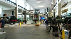 Inside of Science Museum London with many tourists and students Stock Footage