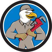 Bald Eagle Plumber Monkey Wrench Circle Cartoon Stock Illustration