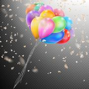 Colorful Balloons with confetti. EPS 10 - stock illustration