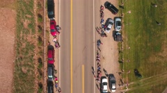 Aerial shot of families waiting for the parade to start Stock Footage
