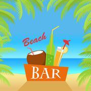 Beach Bar Concept Illustration. Summer Drinks Stock Illustration