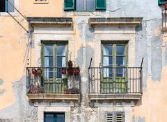Old Houses with balcony at Syracuse, Sicily Stock Photos