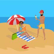 Summer Vacation on Tropical Beach Illustration - stock illustration