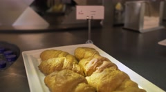 French croissants serving on plate Stock Footage