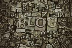 Close up of typeset letters with the word Blog - stock photo