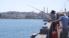 Fishermen on the Galata Bridge Stock Footage