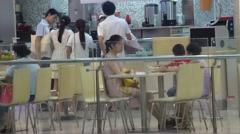 Snack shop in shopping plaza Stock Footage