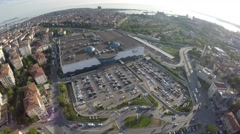 Aerial shot of outdoor carpark Stock Footage