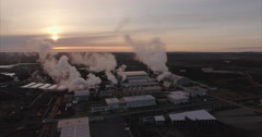 Aerial Shot Of Geothermal Power Station In Iceland Stock Footage