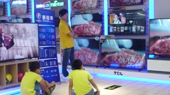 Carrefour supermarket, TV sales area Stock Footage