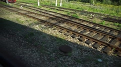 Construction of a railway line for a tram with rails, gravel and sleepers Stock Footage