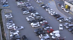 Outdoor Car Parking - Aerial Angle Stock Footage
