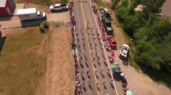 Aerial shot of marching band in july 4th parade Stock Footage
