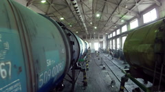 Many trains in a large hangar - stock footage